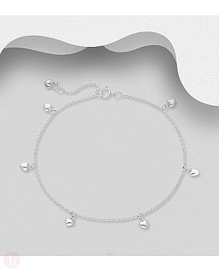 Bratara glezna din argint cu sase inimioare si biluta clopotel