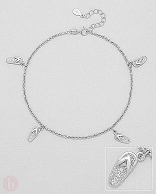 Bratara glezna din argint cu slapi flip flop si cristale