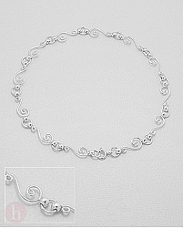 Bratara glezna din argint model spirale cu bilute