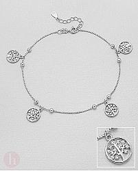 Bratara glezna din argint, model Tree of Life cu cristale