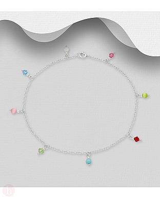 Bratara din argint pentru glezna cu cristale si pietre semipretioase colorate