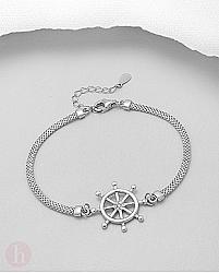 Bratara impletita argint cu timona - carma barca si cristal alb