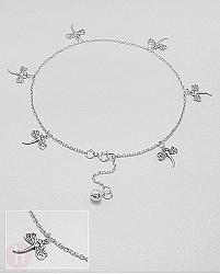 Bratara pentru glezna din argint cu libelule si biluta