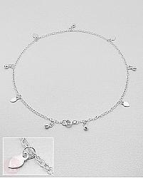 Bratara pentru glezna din argint cu inimioare si bilute pe lantisor
