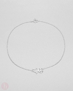 Bratara picior din argint cu inima si simbolul pacii