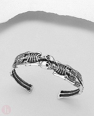 Bratara rigida din argint, model gotic cu scheleti
