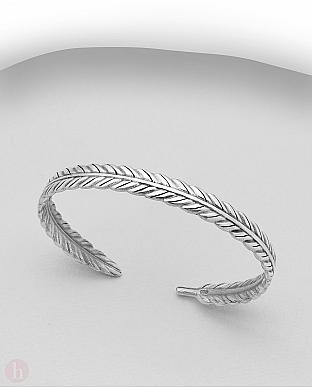 Bratara rigida din argint model frunze