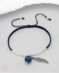 Bratara snur albastru cu lapis lazuli si pana argint