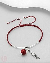 Bratara snur rosu cu coral si pana argint