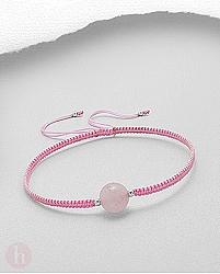 Bratara snur roz cu talisman cuart