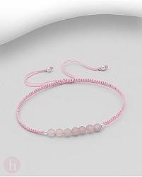 Bratara snur textil cu bilute din argint si pietre roz