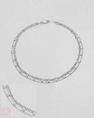 Bratara tripla cu bilute din argint pentru glezna - picior