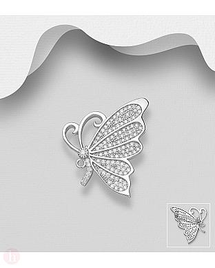 Brosa argint fluture cu cristale