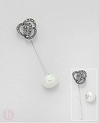Brosa din argint cu marcasite si perla alba