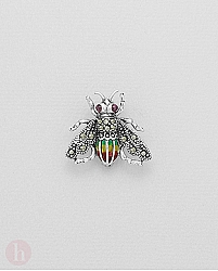 Brosa albina din argint cu pietre semipretioase, marcasite si email