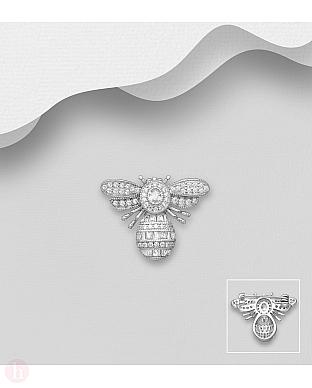 Brosa din argint model albina cu cristale
