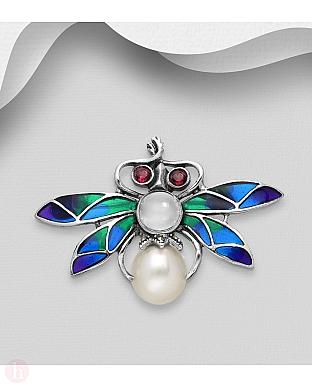 Brosa din argint model fluture colorat