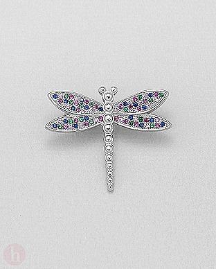 Brosa din argint model libelula cu pietre colorate