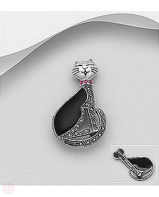 Brosa din argint model pisica cu marcasite si cristale roz