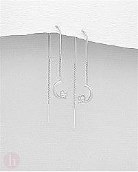 Cercei argint lantisor, luna si inima cu cristale