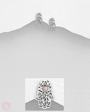 Cercei mici argint si sidef roz Hamsa - Hand of Fatima