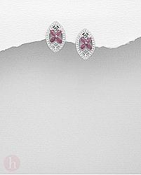 Cercei argint floare cu rubin
