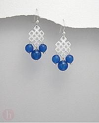 Cercei argint 3 pietre agate albastre