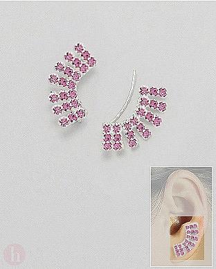Cercei argint agrafa alungiti pe lobul urechii cu cristale roz