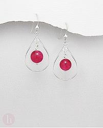 Cercei argint cu piatra aventurin roz