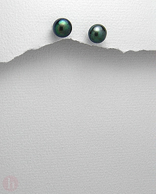 Cercei argint perle de cultura negre 7 mm