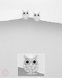Cercei argint bufnita pe creanga cu pietre albe si negre