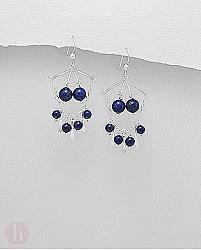 Cercei argint candelabru lapis lazuli
