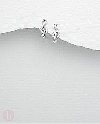 Cercei argint Cheia Sol note muzicale cu pietre