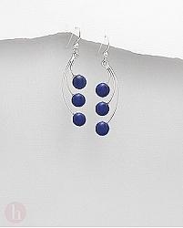 Cercei argint cu 3 pietre albastre
