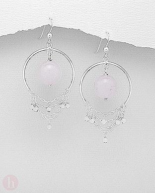 Cercei argint cu cuart roz si lantisoare