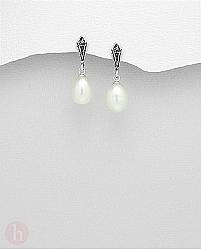 Cercei argint cu perle si marcasite