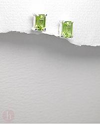 Cercei argint dreptunghi cu peridot