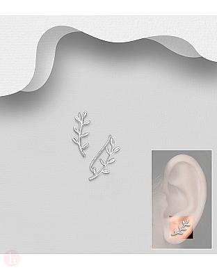 Cercei argint ear pins agrafa cu frunze