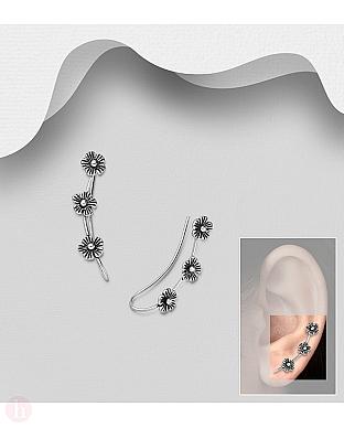 Cercei argint ear pins - agrafa cu trei flori
