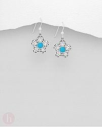 Cercei argint floare cu piatra albastra