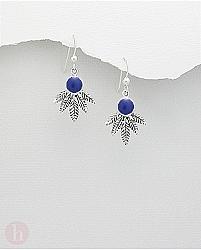 Cercei argint frunza cu rasina albastra