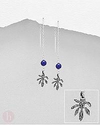 Cercei argint frunza, lantisor si piatra albastra
