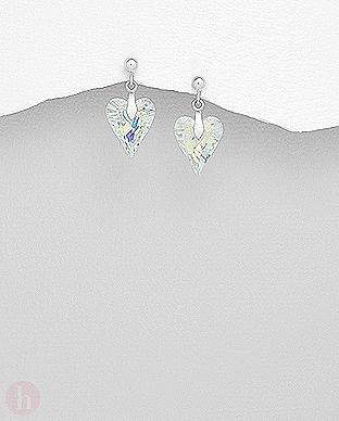 Cercei argint inima cristal Swarovski