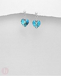 Cercei argint inima cu piatra Swarovski bleu