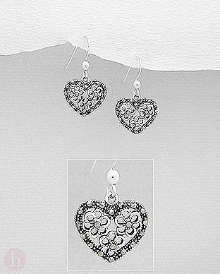 Cercei argint cu marcasite inima, flori, filigran
