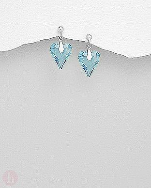 Cercei argint inima Swarovski aquamarine