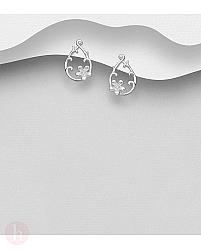 Cercei argint lacrima cu flori si cristale