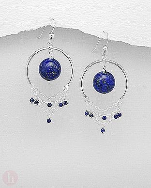 Cercei argint veriga cu lapis lazuli si lantisoare