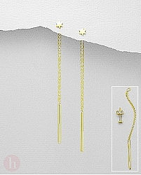 Cercei lungi argint steluta placati cu aur
