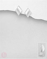 Cercei din argint mat cu clips model romb